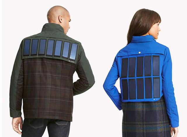 这款夹克后背有太阳能电池 可给移动设备充电
