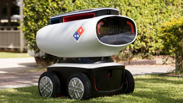 达美乐有自动送披萨外卖的机器人 用密码取餐