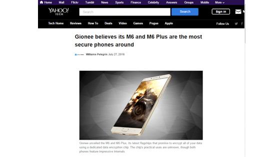 国外核心科技媒体聚焦金立M6 称其大幅提升安卓手机安全性