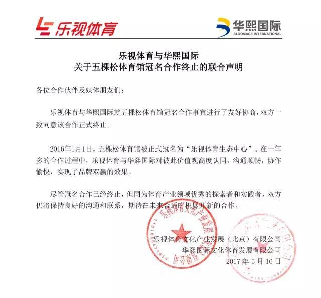 乐视体育确认终止冠名五棵松体育馆 双方和平解约
