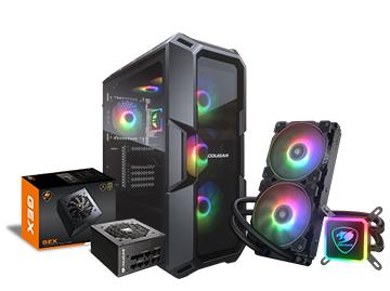 骨伽GEX650全模组电源+魔影i7钢化玻璃中塔ATX机箱+水鬼240/360一体式水冷CPU散热器